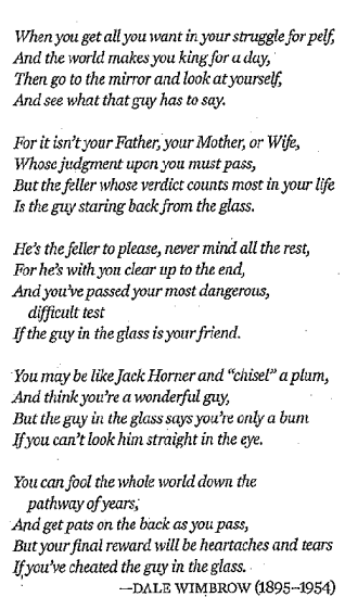 the man in the mirror poem dale wimbrow