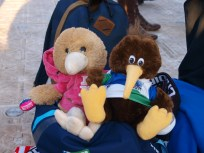 My mascot, Richie, met his first girlfriend at the Cardiff fanzone. <3