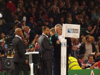 George Gregan, Jason Robinson and Sean Fitzpatrick on behalf of ITV.