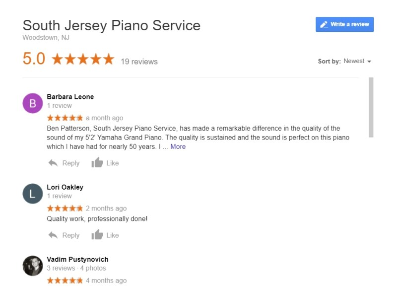 South Jersey Piano Service - Google Reviews