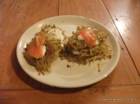 Salmon and curried kumara fritters
