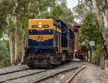 1950's Diesel train on the Old Tocumwal Bridge today