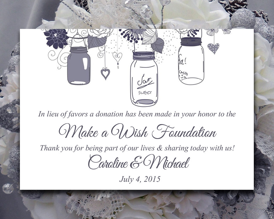 Donations In Lieu Of Wedding Favors Sonal J Shah Event Consultants LLC