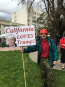 "Fred Garvey of the far-right coalition, the California Mass Resistance seen at the ""March for Trump."""