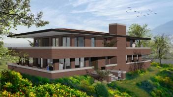 Villa in FLW stijl bovenop een mooie zichtlocatie op de top van heuvel