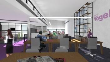 Eerste verdieping - werkplekken hoge ruimte