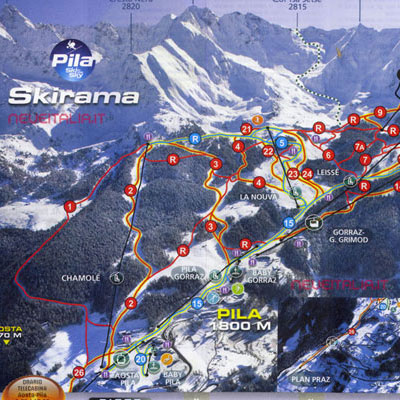 Mappa impianti e cartina delle piste Skirama Pila Pila