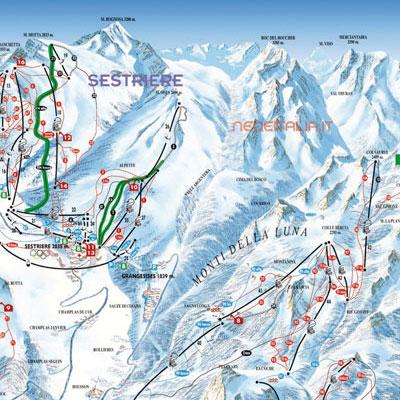 Mappa impianti e cartina delle piste Skirama Sestriere