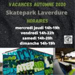 Vacances automne 2020 au Skatepark Laverdure (Maj mesures covid-19)