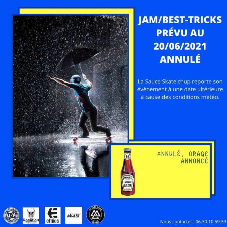 Read more about the article Annulation : Jam/best tricks au skatepark de Mers les Bains le 20 juin avec La sauce skate'chup