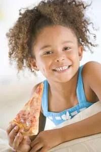 Cute girl eating pizza