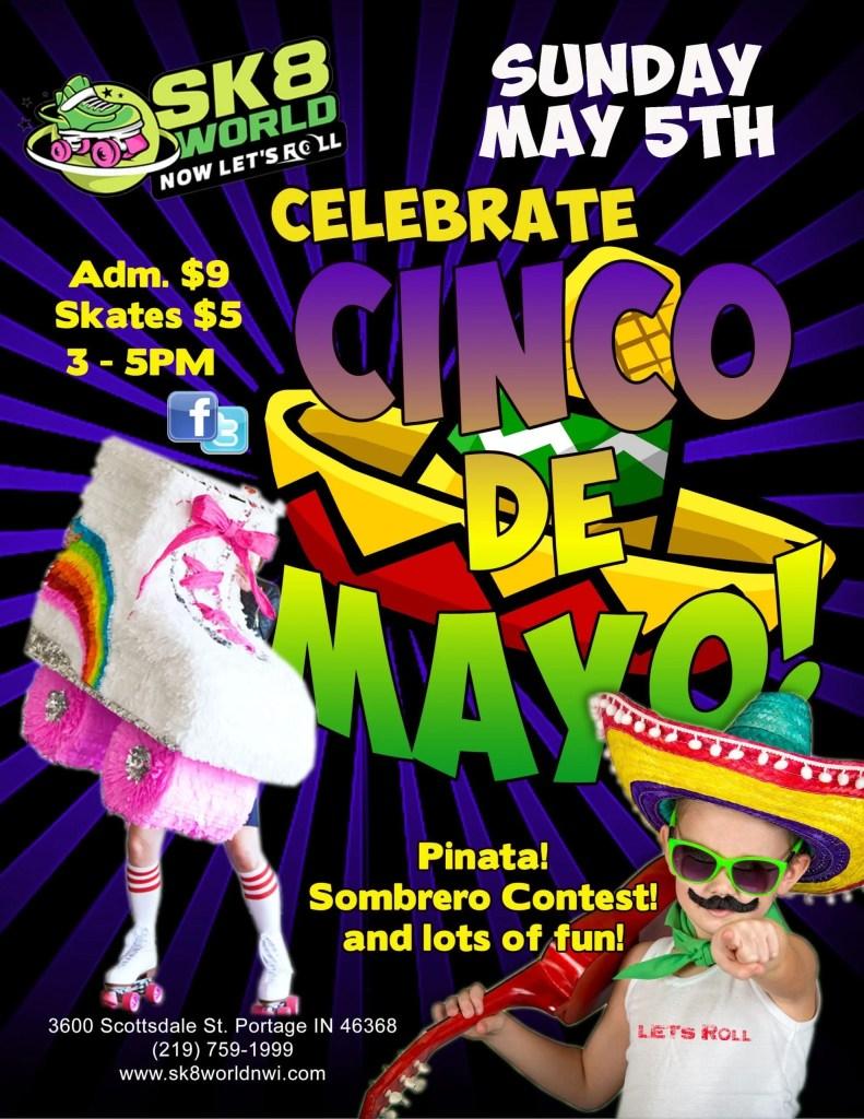 Cinco de Mayo party flyer for Sk8world Portage