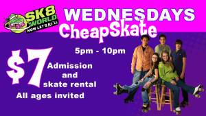 5p - 10p Wednesday skate $7 Admission includes skate rentals