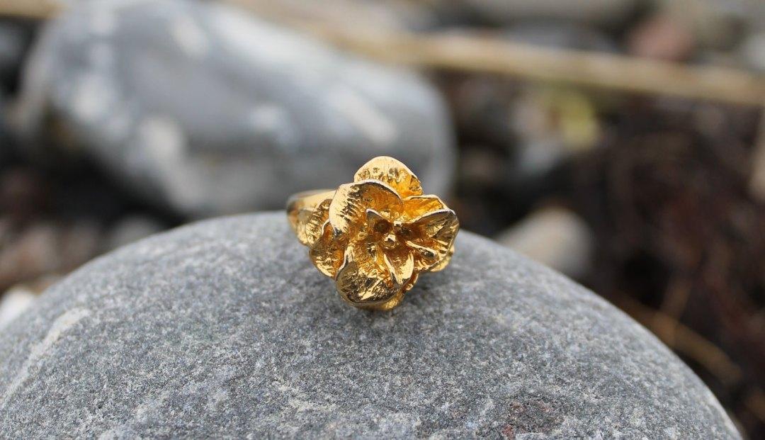 Forgyldt Skagenrose fingerring på stranden i Skagen.