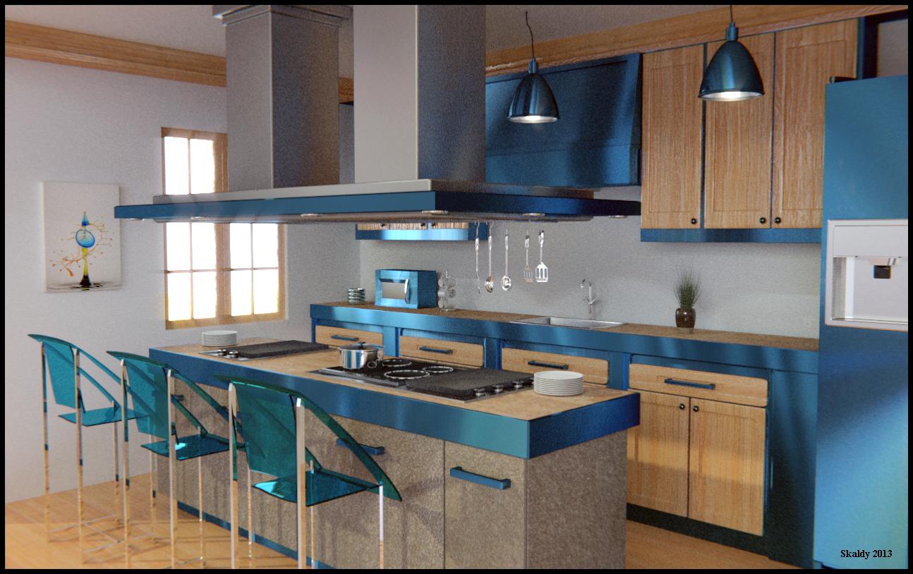 Cocina AzulKitchen Blue  Skaldy3D
