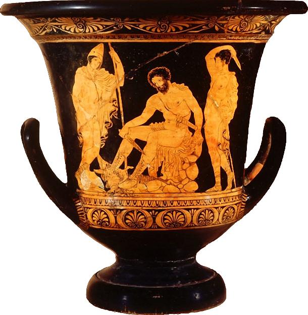 Ulises consultando a Tiresias con Perimedes y Euriloco