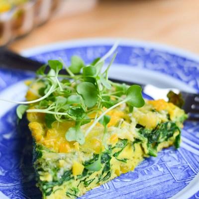Špinatų omletas keptas orkaitėje