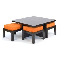 Safron Coffee Table with four Stools - Skarabrand