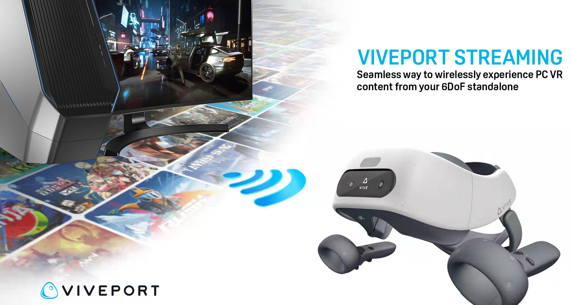 "HTC launches ""Viveport Streaming"" to give wireless streaming to Wave standalone headsets"