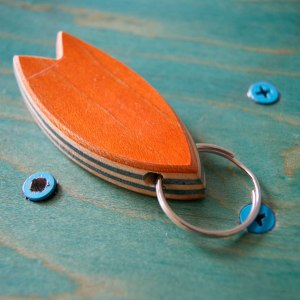 Skatan LLC Surfboard Keychain - Unique & Upcycled Skateboard Wood