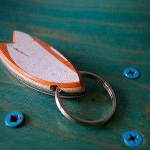 Skatan LLC Surfboard Keychain - Unique & Upcycled Skateboard Wood