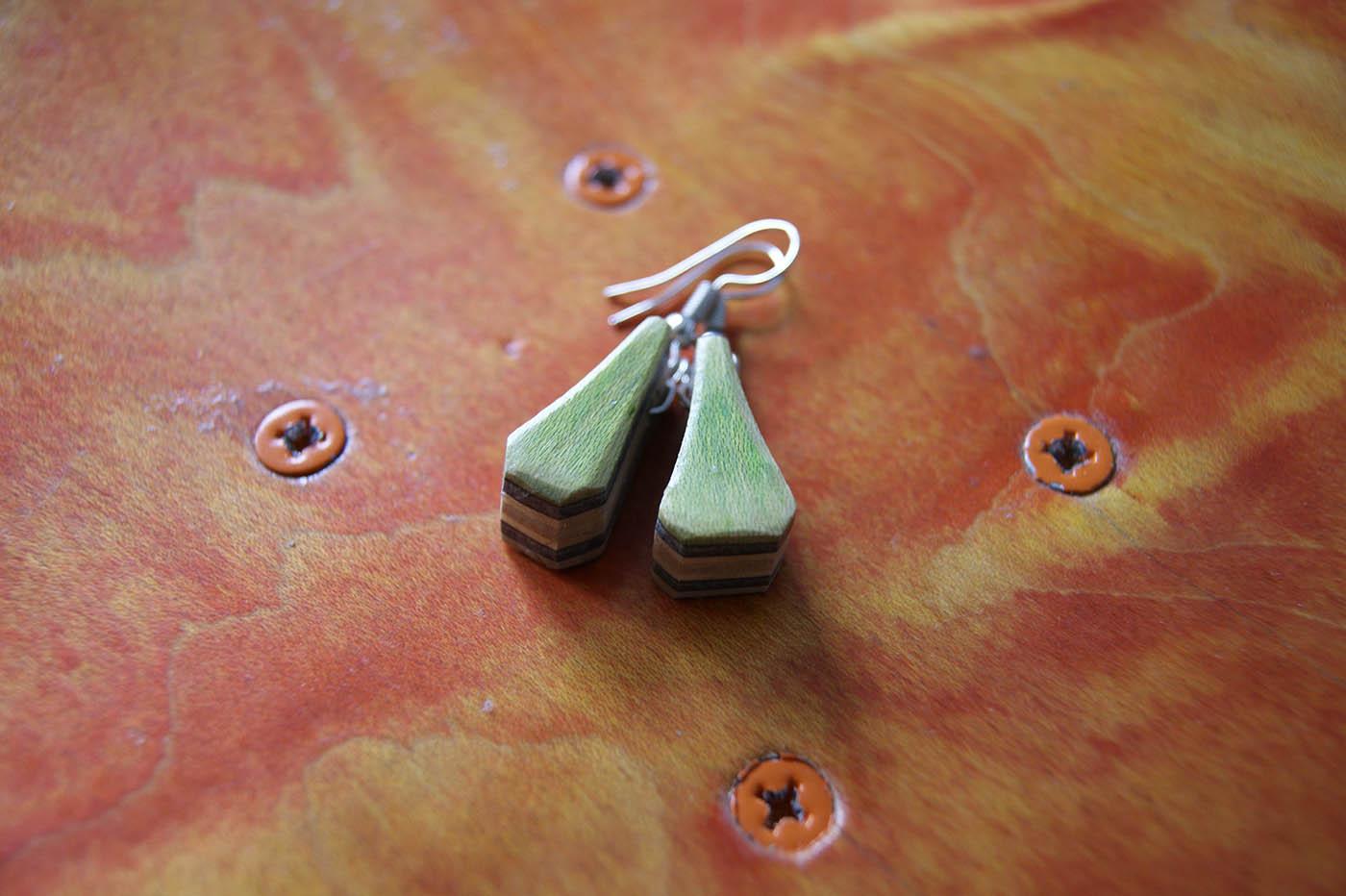 Artsy Earrings – Upcycled Skateboard wood – store