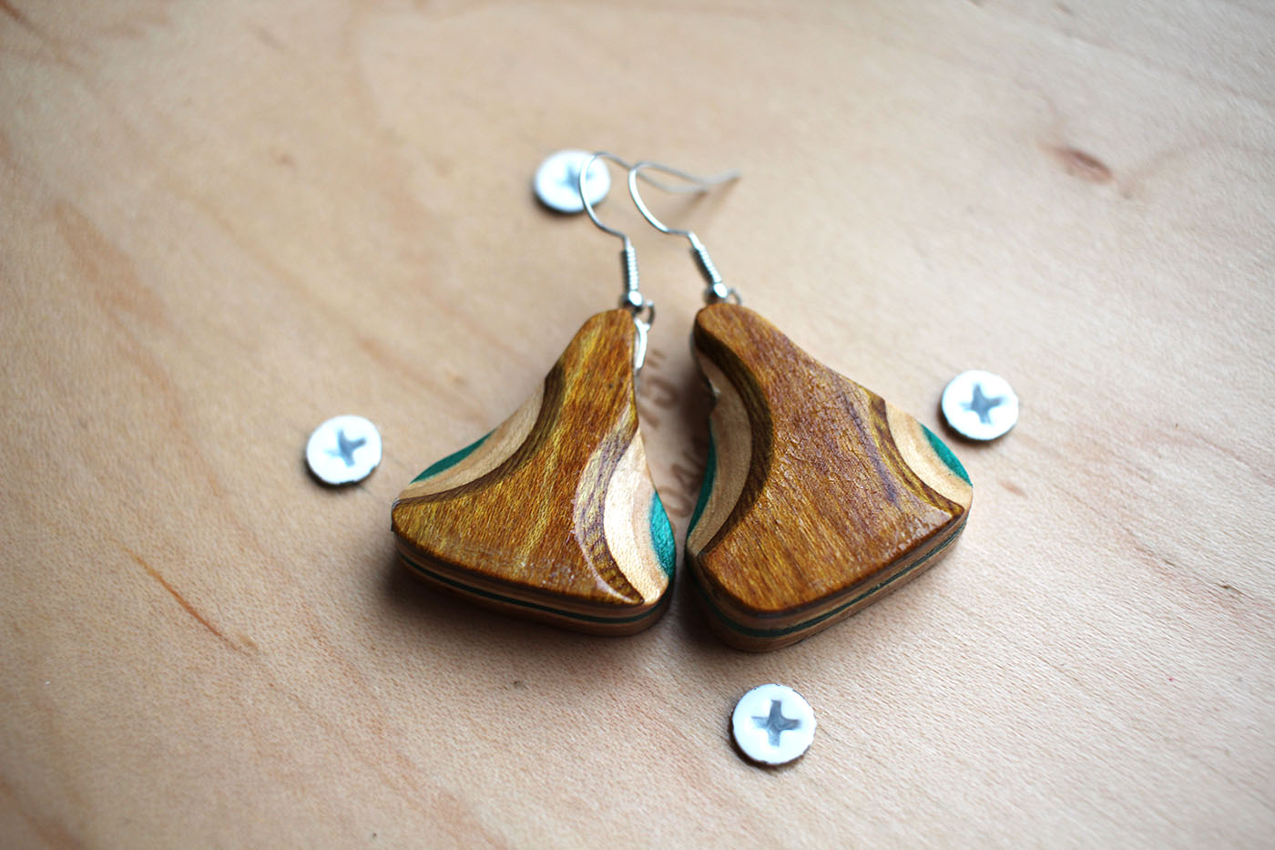 Earring unique and upcycled earrings handcrafted from used skateboard wood