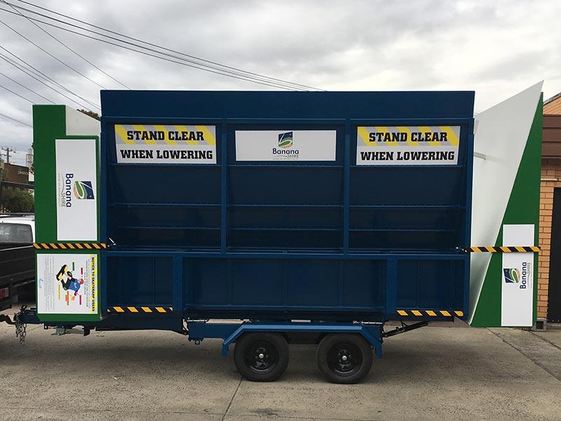 A mobile skate ramp (or portable skate ramp) built by Skateramps Australia in the transport position