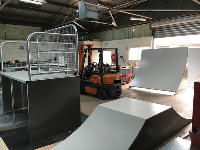 Skateramp Australia's workshop, where our ramp modules and mobile skate ramps are fabricated