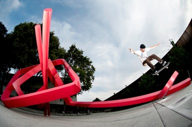 erik derenger ollie up kickflip fakie
