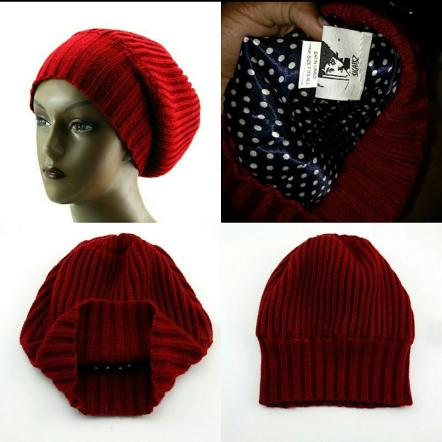 Satin line beanie: http://www.ebay.com/itm/NEW-Unisex-Knitted-Satin-Lined-Slouch-Beanie-by-Skatsz-Red-Blue-/181970037965?hash=item2a5e426ccd:g:sgwAAOSwqrtWn1Vt