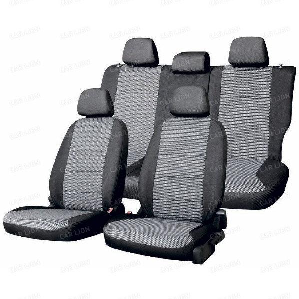 Чехлы сиденья жаккард SKYWAY LADA ВАЗ-2110 седан 1996-2007 темно-серый 12 предметов