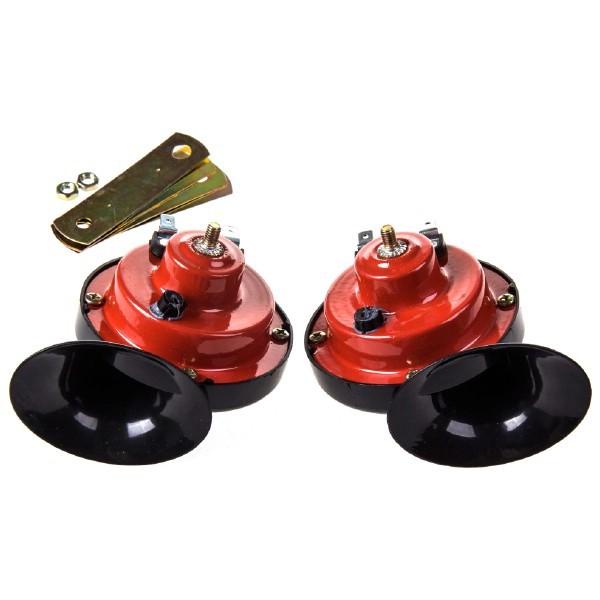Сигнал звуковой улитка SKYWAY 015 d=90мм 12V 105dB сталь/пластик красный/черный 2шт. 2-конт.