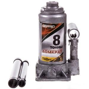 Домкрат гидравлический бутылочный 8т h 193-380мм SKYWAY STANDART