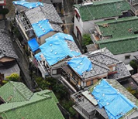 台風21号屋根ブルーシート