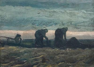『泥炭湿原で働く女たち』1883年10月、ニーウ・アムステルダム。