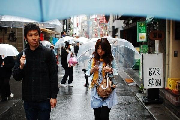 Estações, Tempo e Clima em japonês - chuva rua 1