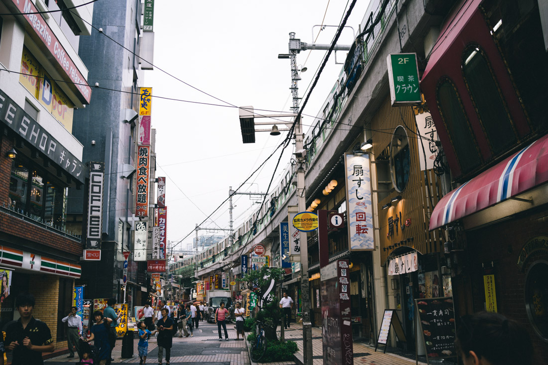 Typical street in Ueno: restaurants, adult/hentai stores and street food stalls.