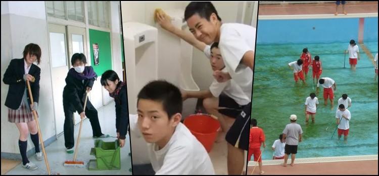 Limpeza, escolas, alunos, japão