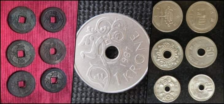 moedas japoneas furadas