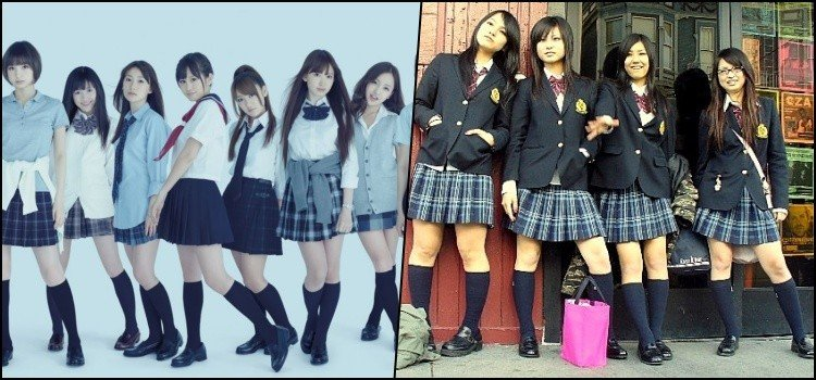 Saia curta no uniforme escolar japonês