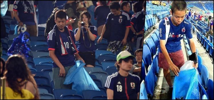 Os torcedores de futebol japoneses dão exemplo ao brasil