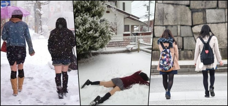 Why do Japanese students wear short skirts in winter?
