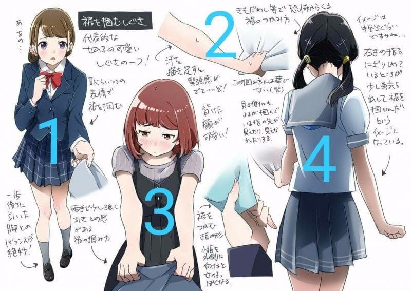Gesto romántico japonés de recoger y tirar de la ropa del niño