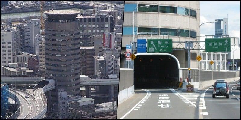 Hanshin expressway – a via expressa que atravessa um prédio