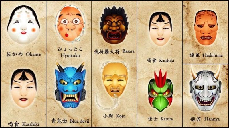 As famosas máscaras japonesas