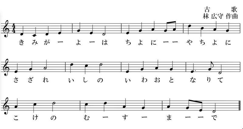 Kimigayo - o curto hino nacional japonês - kimigayo cifra 1