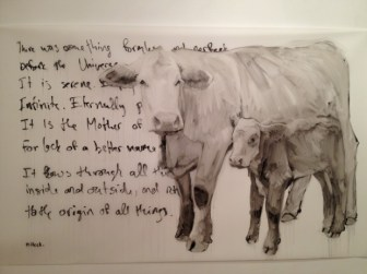 Painting by Sarah Hillock depicting the theme of motherhood in animal form and poetry. Photo by Alison Greco