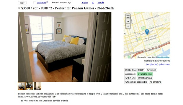 $3500 for the month of the  Pan Am Games (Courtesy of Craigslist.org)