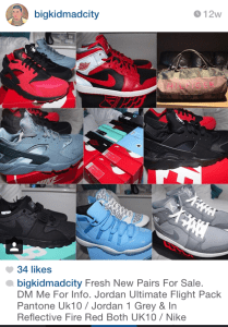 Instagram screen shot of a collage of shoes for sale.